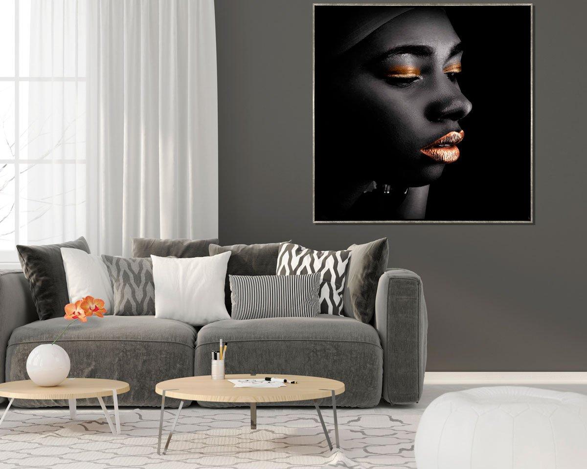 Quadro Tela Canvas Arte Africana com Moldura Prata 120x120cm