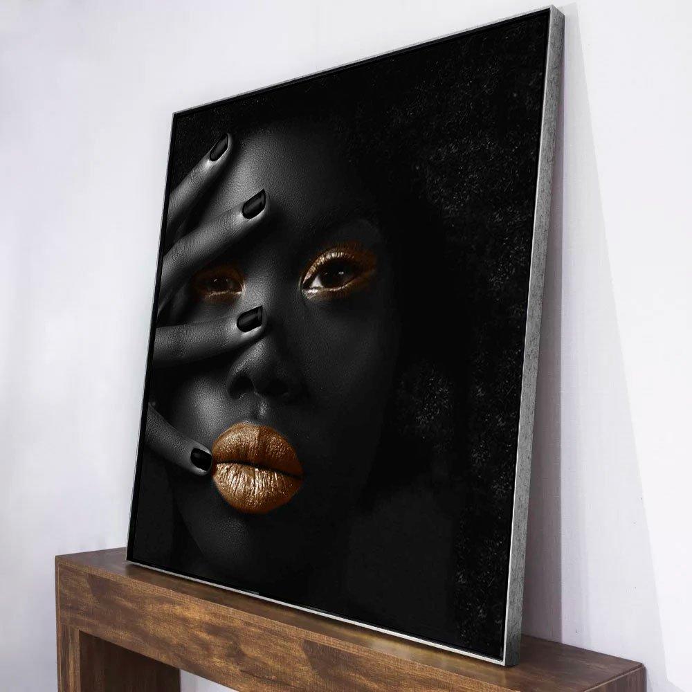 Quadro Tela Canvas com Moldura Arte Africana 120x120cm
