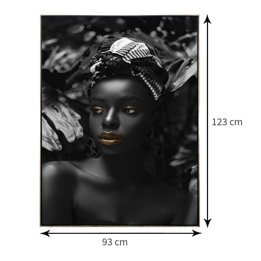 Quadro Tela Canvas com Moldura Prata Arte Africana 90x120 cm