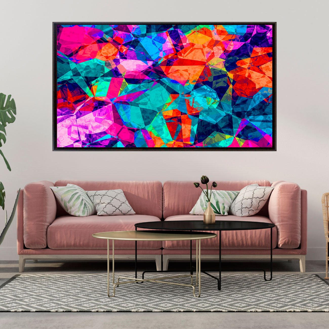 Quadro Tela Canvas Emoldurada Abstrato Colors 200x120cm
