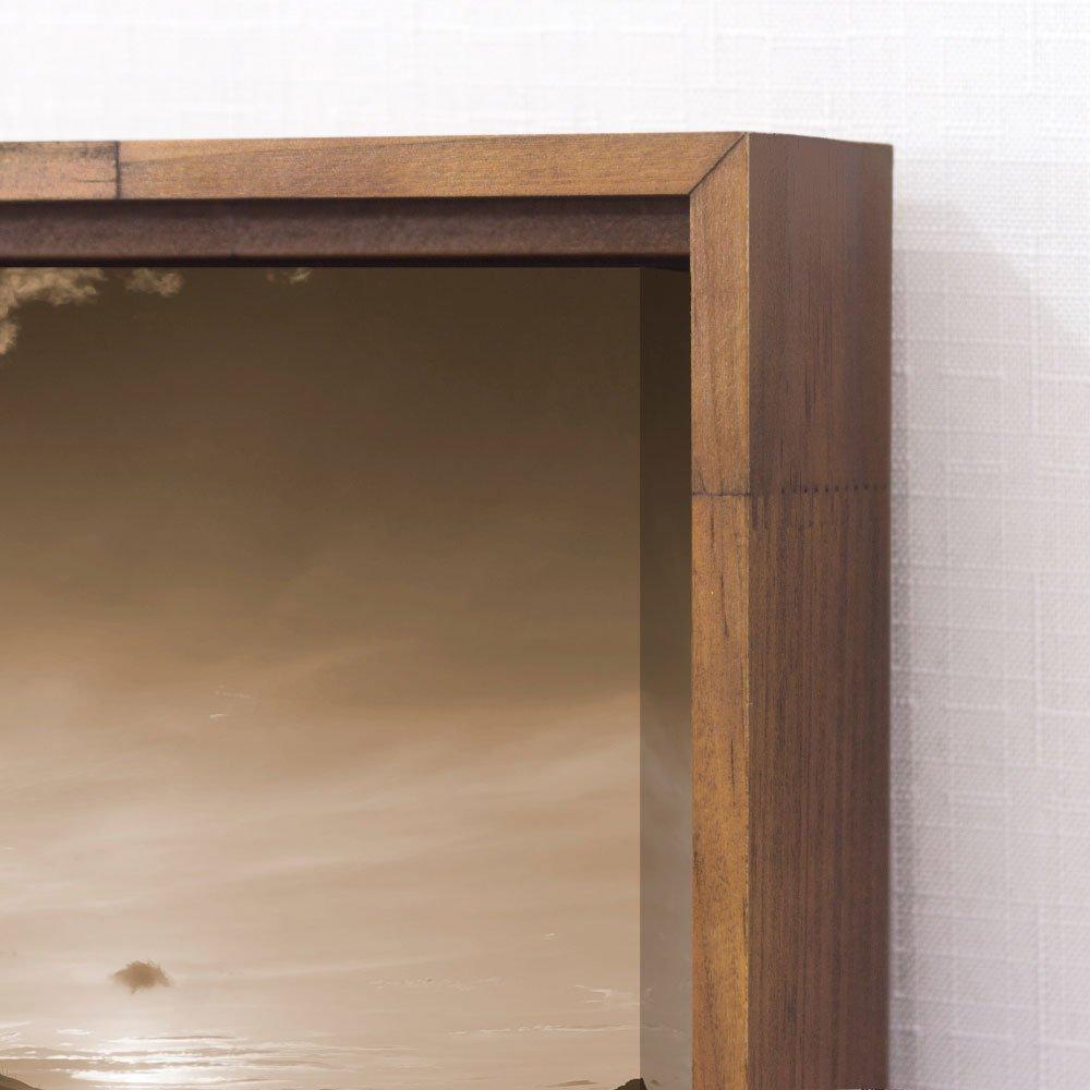 Quadro Tela Canvas Paisagem com Barco em Tom Sépia 90x90 cm