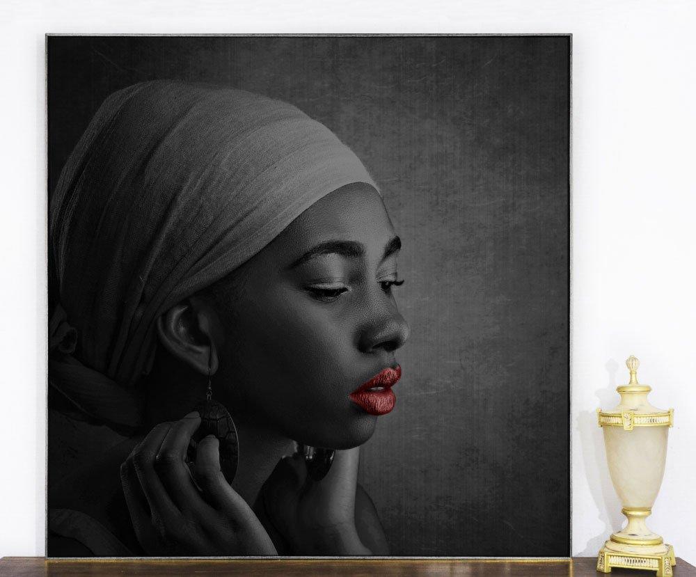 Quadro Tela com Moldura Beleza Africana 120x120cm