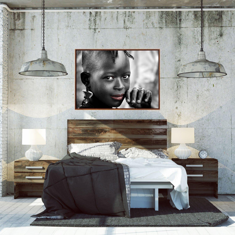 Quadro em Tela Canvas com Moldura Flutuante - Fotografia Menina Africana 150x100cm
