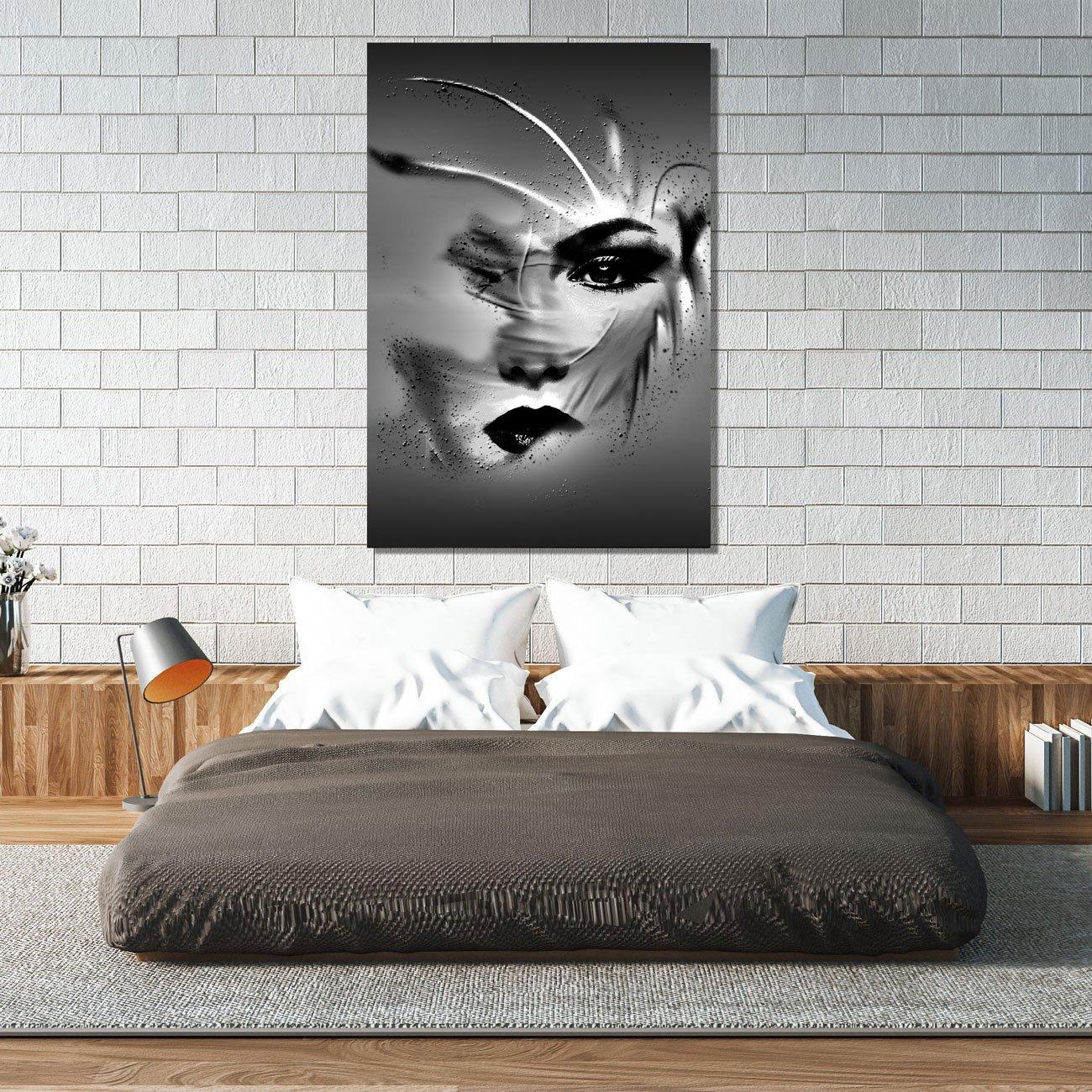 Tela Canvas Mulher Abstrata em Preto e Branco