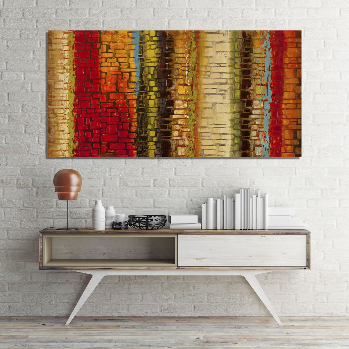 Quadro Tela Decorativa Abstrata Várias Cores 120x60cm