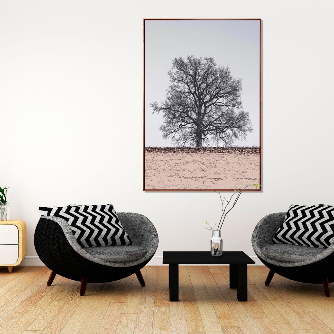 Quadro Tela Decorativa com Moldura Marrom Árvore Paisagem 100x150cm