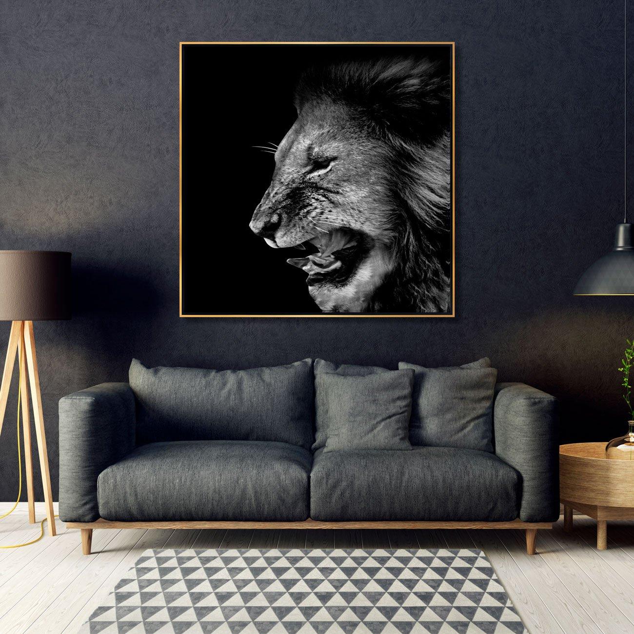 Tela Canvas Arte Leão Rugindo Preto e Branco 120x120 cm