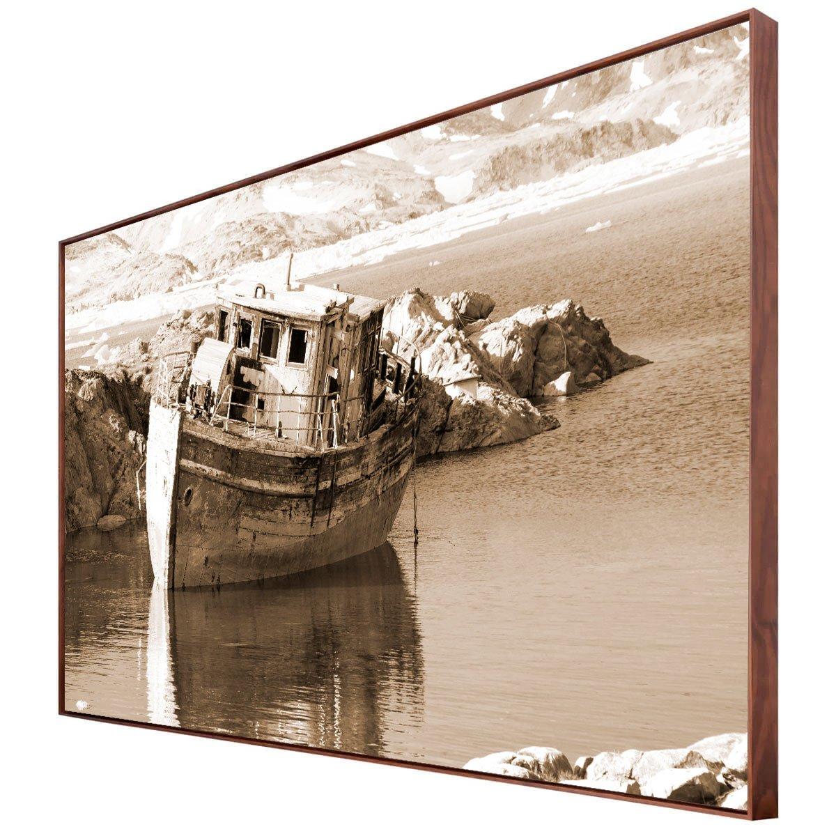 Tela Canvas em Tom Sépia Paisagem com Barco Abandonado 170x100 cm