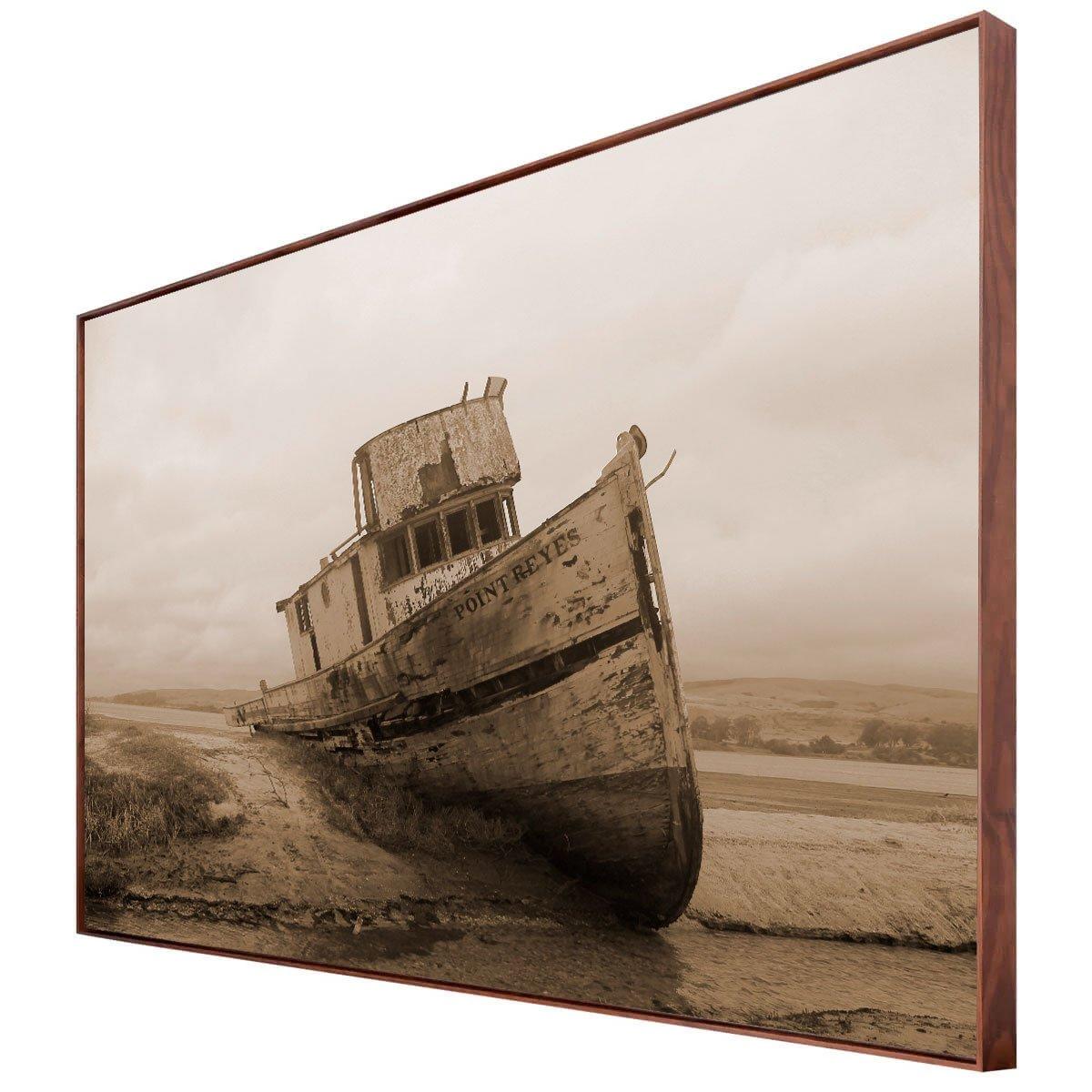 Tela Canvas em Tom Sépia Paisagem com Barco Naufragado 170x100 cm