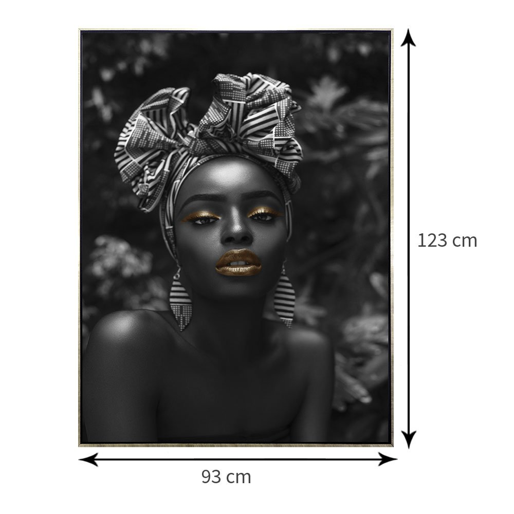 Tela Canvas Preto e Branco com Moldura Prata Arte Africana 90x120 cm