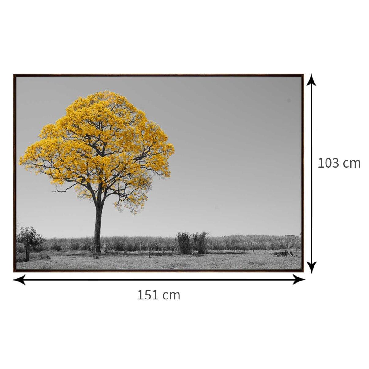 Tela Decorativa Ipê Amarelo 150x100 cm Preto e Branco