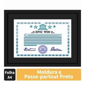 Moldura para Certificado Diploma 20x30cm Quadro Preto com Vidro