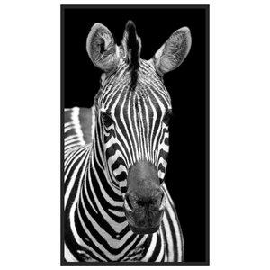 Quadro Decorativo com Moldura Preta Zebra em Fundo Preto 80x140cm