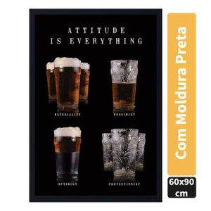 Quadro Decorativo Poster Copos de Cerveja Atitude é Tudo s/ Vidro 60x90cm