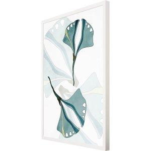 Quadro Mold Branca Ilustração Folhas em Tons de Verde 60x80cm