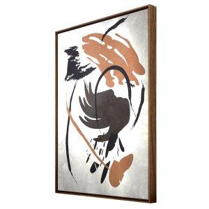 Quadro Tela Canvas Abstrata com Moldura na Cor Mel 60x80cm