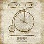 Gravura para Quadros Vintage Bicicleta Ano 1886 - 30x30cm