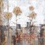 Quadro Tela Impressa Abstrato Floral 100x100cm