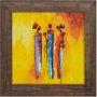 Quadro Rústico Figurativo Mulheres e Crianças Africanas s/ Vidro 70x70cm