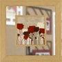 Quadro com Espelho Decorativo Flores Vermelhas 65x65cm