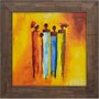 Quadro Rústico Figurativo Mulheres Africanas s/ Vidro 70x70cm