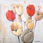 Quadro Tela Impressa Flores Tulipas 60x60cm