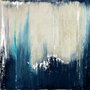 Gravura para Quadros Abstrata Azul e Branca 46x46cm