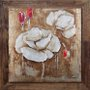 Quadro Decorativo Tela com Moldura Rústica Flores Brancas e Vermelhas 120x120cm