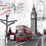 Quadro Tela Impressa Londres Big Ben e Red Bus 80x80cm