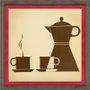 Quadro Decorativo Bule e Xicaras de Café 35x35cm