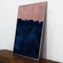 Quadro Decorativo Desenho Abstrato Azul e Rosê 50x70 cm