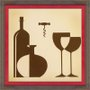 Quadro Decorativo Garrafas e Taças de Vinho 35x35cm