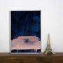 Quadro Desenho Abstrato Azul e Rosê 50x70 cm