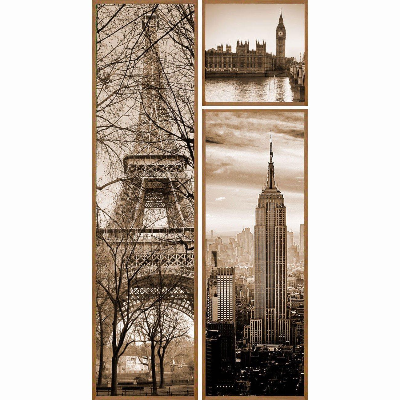 Trio de Quadros Paris, New York e Londres 100x200cm Kit com 3 Quadros